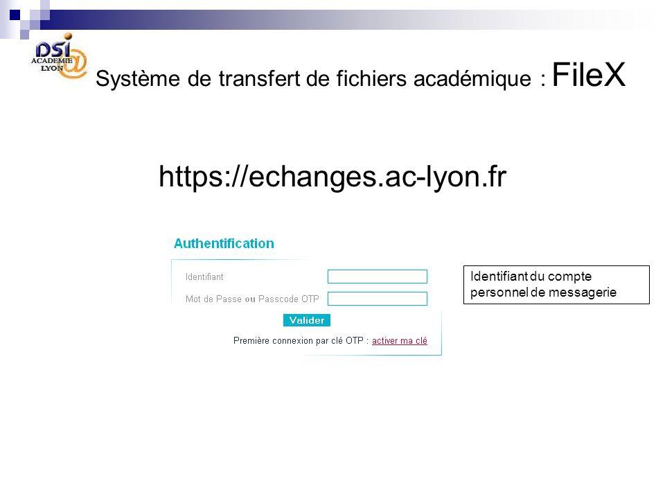 Système de transfert de fichiers académique : FileX https://echanges.ac-lyon.fr Identifiant du compte personnel de messagerie