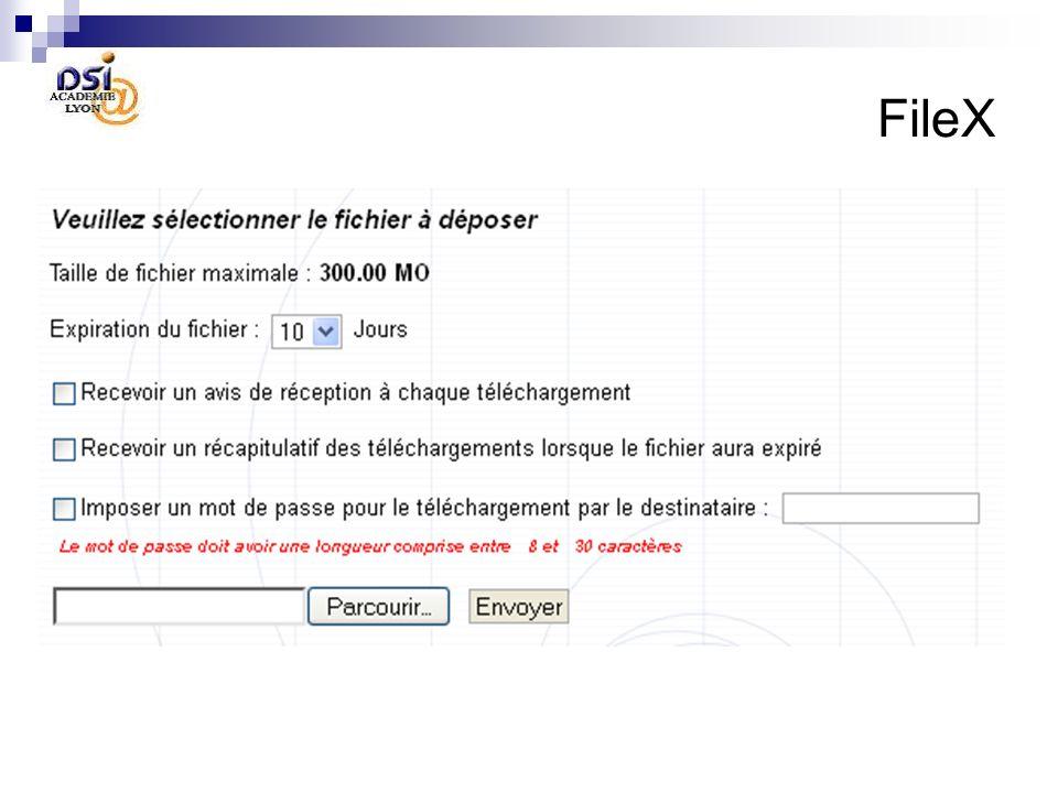 FileX Déposer un fichier Pour déposer un fichier : sélectionner un fichier depuis votre disque dur en utilisant le bouton parcourir..., et appuyez sur le bouton envoyer.