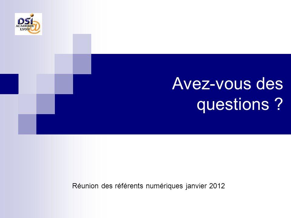 Avez-vous des questions ? Réunion des référents numériques janvier 2012