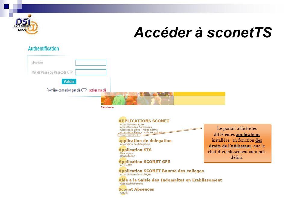 Accéder à sconetTS Le portail affiche les différentes applications installées, en fonction des droits de lutilisateur que le chef détablissement aura pré- défini.