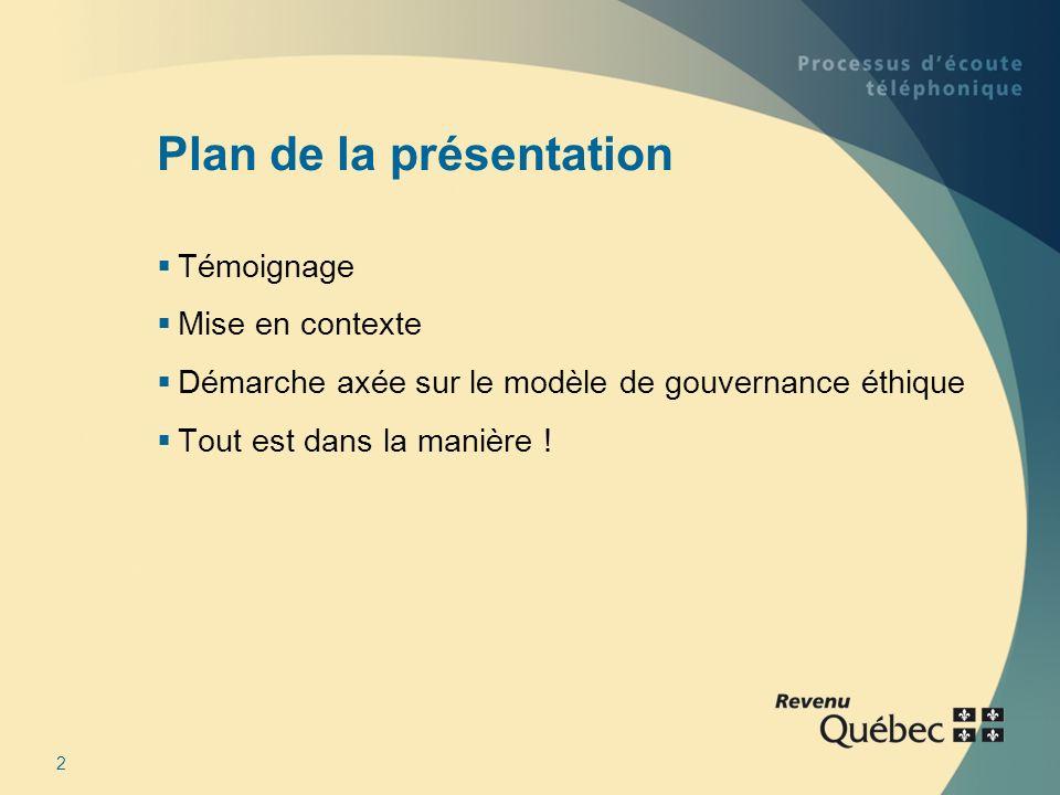 2 Plan de la présentation Témoignage Mise en contexte Démarche axée sur le modèle de gouvernance éthique Tout est dans la manière !