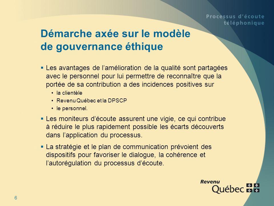 6 Démarche axée sur le modèle de gouvernance éthique Les avantages de lamélioration de la qualité sont partagées avec le personnel pour lui permettre de reconnaître que la portée de sa contribution a des incidences positives sur la clientèle Revenu Québec et la DPSCP le personnel.