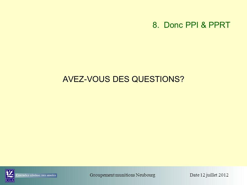 Date 12 juillet 2012Groupement munitions Neubourg 8. Donc PPI & PPRT AVEZ-VOUS DES QUESTIONS?