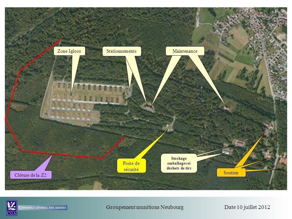 Date 10 juillet 2012Groupement munitions Neubourg Zone Igloos Stationnements Soutien Clôture de la Z2 Maintenance Stockage emballages et déchets de ti