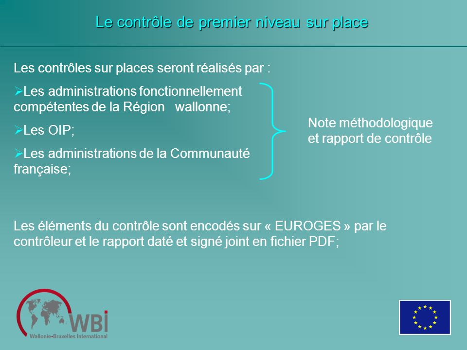 Les contrôles sur places seront réalisés par : Les administrations fonctionnellement compétentes de la Région wallonne; Les OIP; Les administrations d