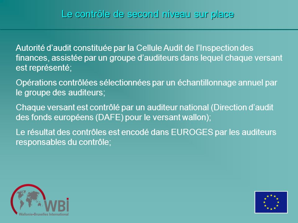 Le contrôle de second niveau sur place Autorité daudit constituée par la Cellule Audit de lInspection des finances, assistée par un groupe dauditeurs