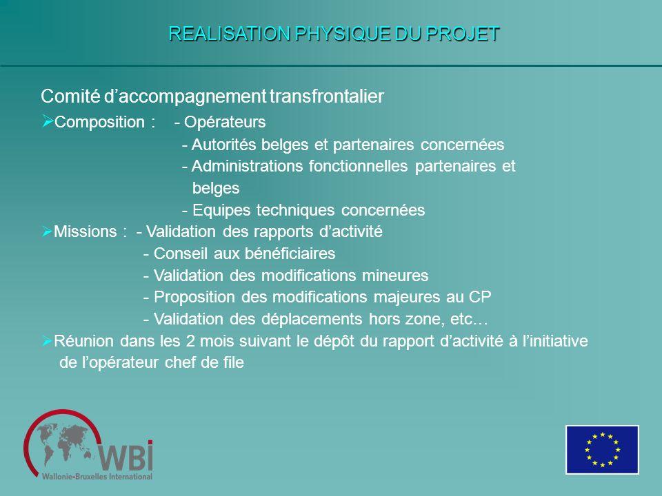 REALISATION PHYSIQUE DU PROJET Comité daccompagnement transfrontalier Composition : - Opérateurs - Autorités belges et partenaires concernées - Admini