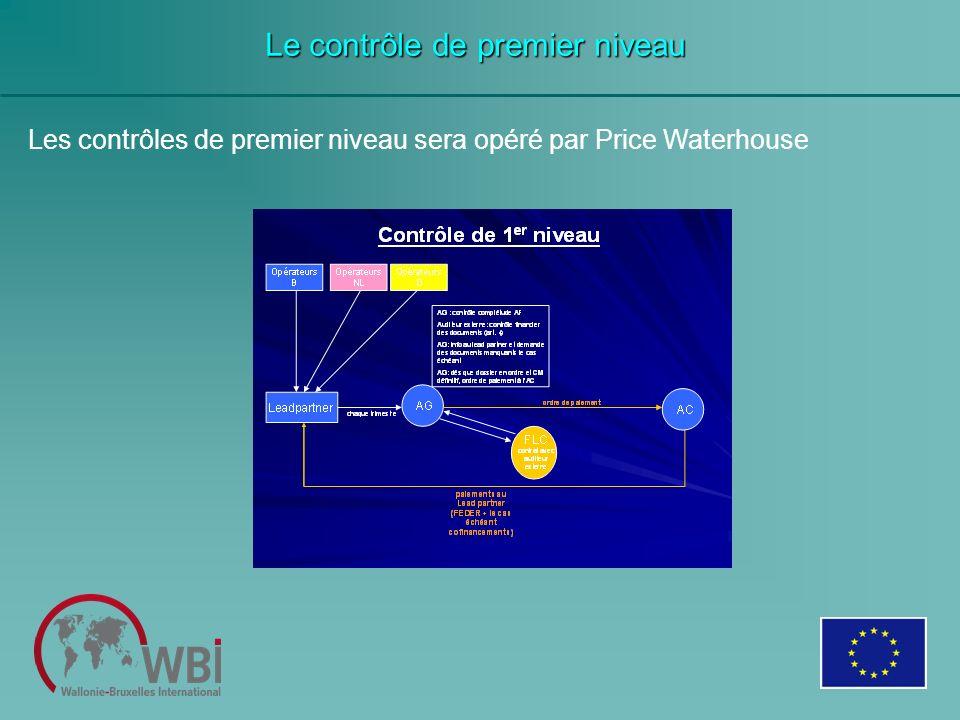 Les contrôles de premier niveau sera opéré par Price Waterhouse Le contrôle de premier niveau