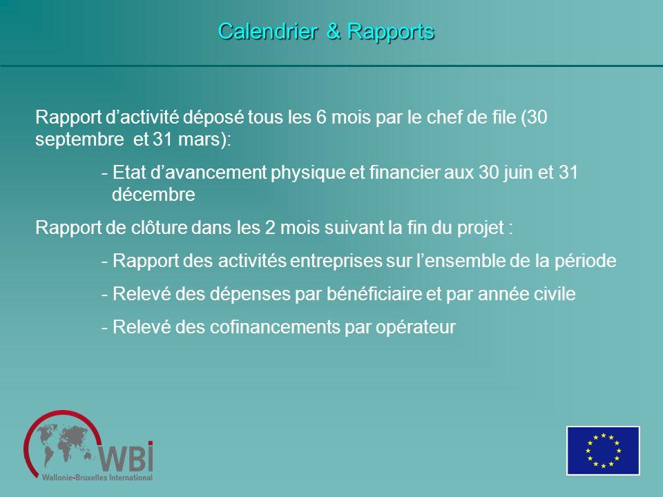 Calendrier & Rapports Rapport dactivité déposé tous les 6 mois par le chef de file (30 septembre et 31 mars): - Etat davancement physique et financier