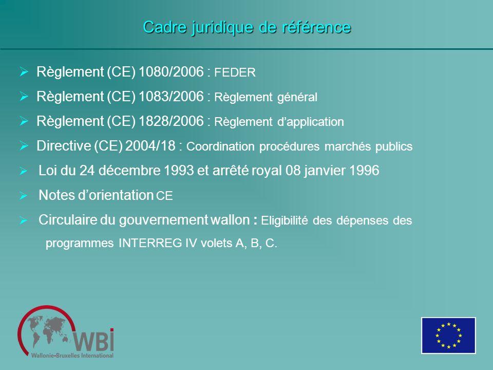 Cadre juridique de référence Règlement (CE) 1080/2006 : FEDER Règlement (CE) 1083/2006 : Règlement général Règlement (CE) 1828/2006 : Règlement dappli