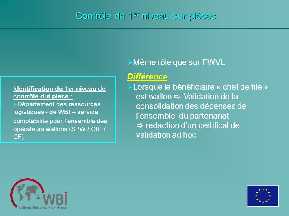 Contrôle de 1 er niveau sur pièces Identification du 1er niveau de contrôle dut place : Département des ressources logistiques - de WBI – service comp