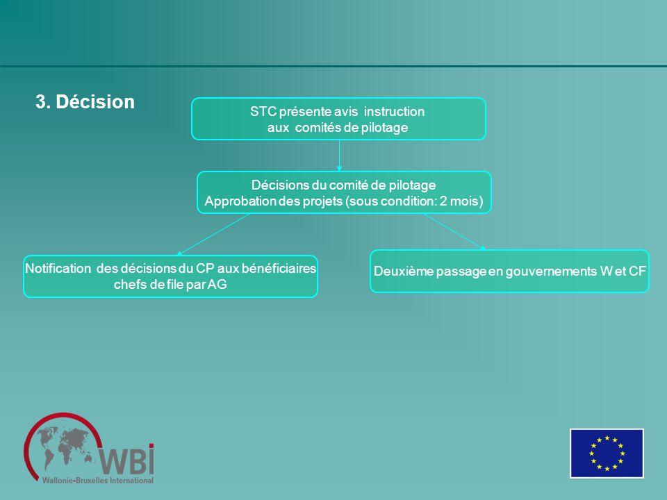 3. Décision STC présente avis instruction aux comités de pilotage Décisions du comité de pilotage Approbation des projets (sous condition: 2 mois) Deu