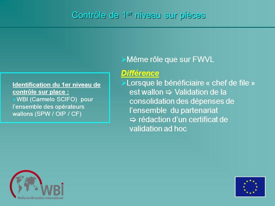 Contrôle de 1 er niveau sur pièces Identification du 1er niveau de contrôle sur place : WBI (Carmelo SCIFO) pour lensemble des opérateurs wallons (SPW