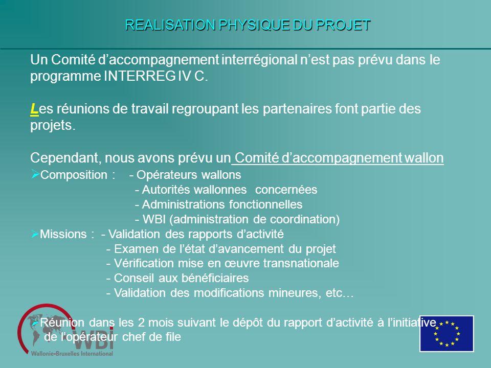 REALISATION PHYSIQUE DU PROJET Un Comité daccompagnement interrégional nest pas prévu dans le programme INTERREG IV C. Les réunions de travail regroup