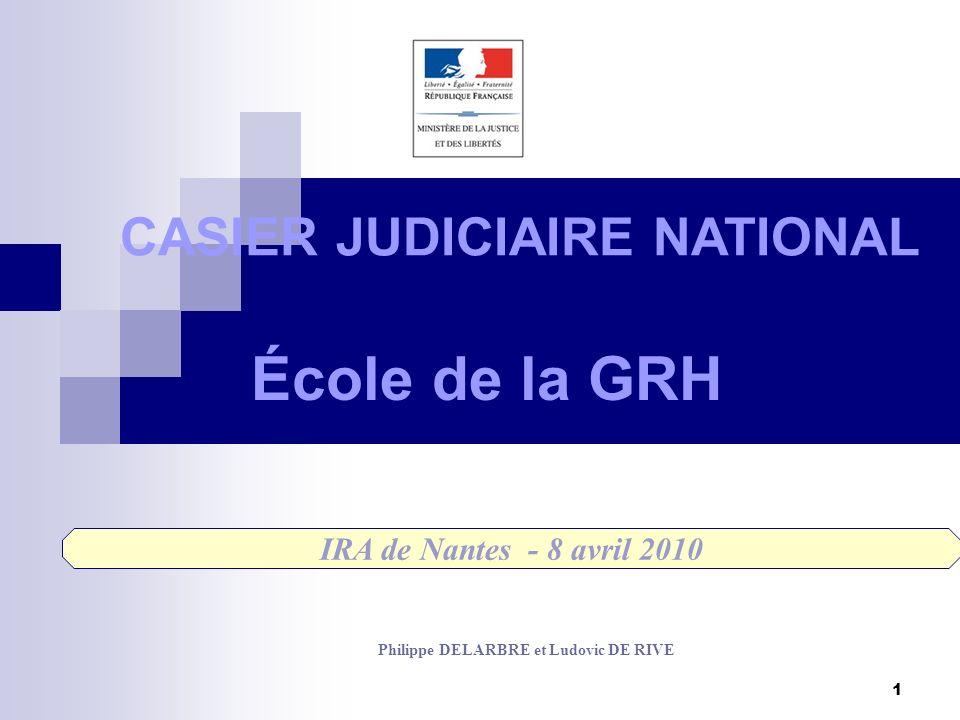 1 École de la GRH CASIER JUDICIAIRE NATIONAL IRA de Nantes - 8 avril 2010 Philippe DELARBRE et Ludovic DE RIVE