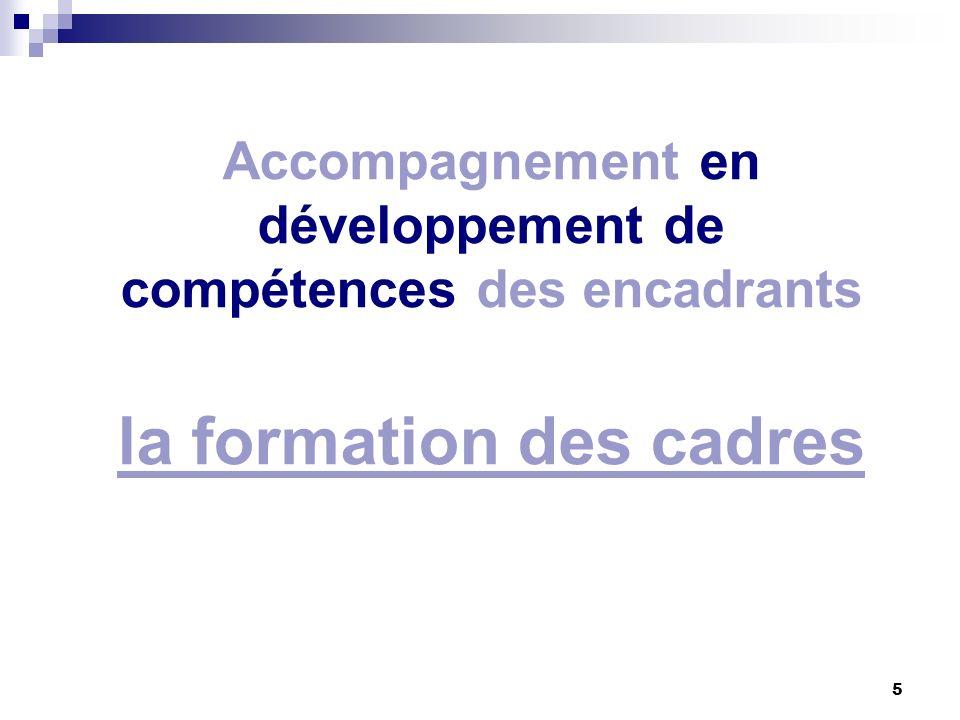 5 Accompagnement en développement de compétences des encadrants la formation des cadres