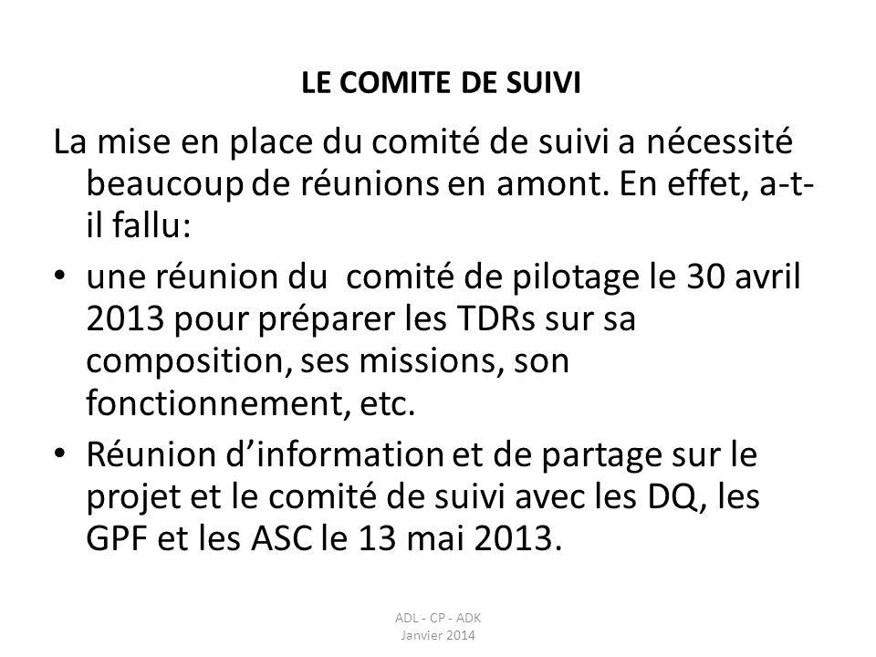 LE COMITE DE SUIVI ADL - CP - ADK Janvier 2014 La mise en place du comité de suivi a nécessité beaucoup de réunions en amont. En effet, a-t- il fallu:
