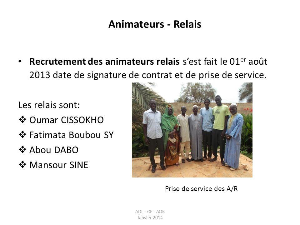 Recrutement des animateurs relais sest fait le 01 er août 2013 date de signature de contrat et de prise de service. Les relais sont: Oumar CISSOKHO Fa