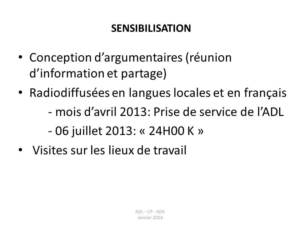 SENSIBILISATION ADL - CP - ADK Janvier 2014 Conception dargumentaires (réunion dinformation et partage) Radiodiffusées en langues locales et en frança