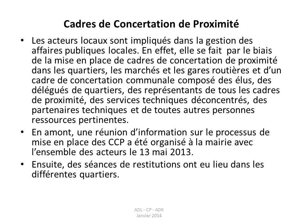 Cadres de Concertation de Proximité ADL - CP - ADK Janvier 2014 Les acteurs locaux sont impliqués dans la gestion des affaires publiques locales. En e