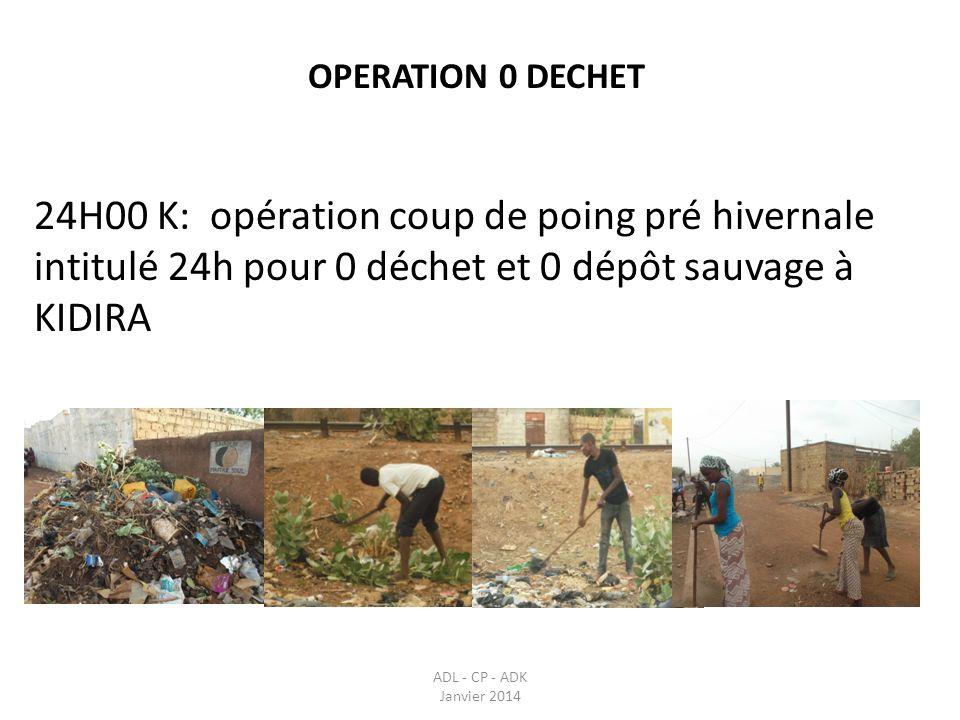 OPERATION 0 DECHET 24H00 K: opération coup de poing pré hivernale intitulé 24h pour 0 déchet et 0 dépôt sauvage à KIDIRA ADL - CP - ADK Janvier 2014