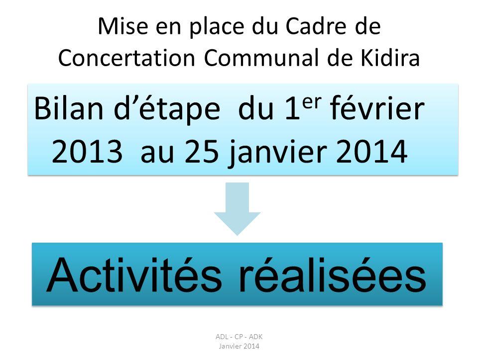 Mise en place du Cadre de Concertation Communal de Kidira Bilan détape du 1 er février 2013 au 25 janvier 2014 ADL - CP - ADK Janvier 2014 Activités r