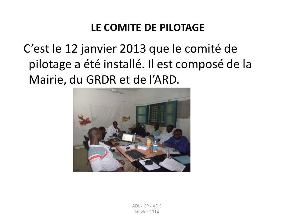 LE COMITE DE PILOTAGE ADL - CP - ADK Janvier 2014 Cest le 12 janvier 2013 que le comité de pilotage a été installé. Il est composé de la Mairie, du GR