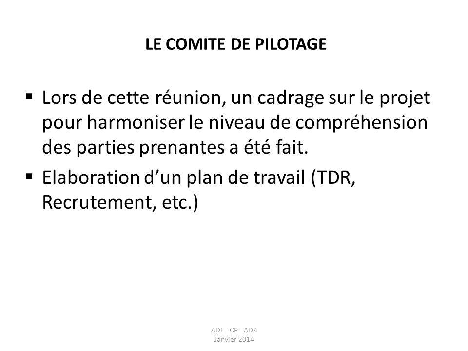 LE COMITE DE PILOTAGE ADL - CP - ADK Janvier 2014 le comité de pilotage sest réunit le 30 avril 2013 pour examiner et adopter les projets darrêtés portant création du comité de pilotage et du comité de suivi, ainsi que les TDR (termes de références) de ces comités, des cadres de concertation de proximité et du cadre de concertation communal.