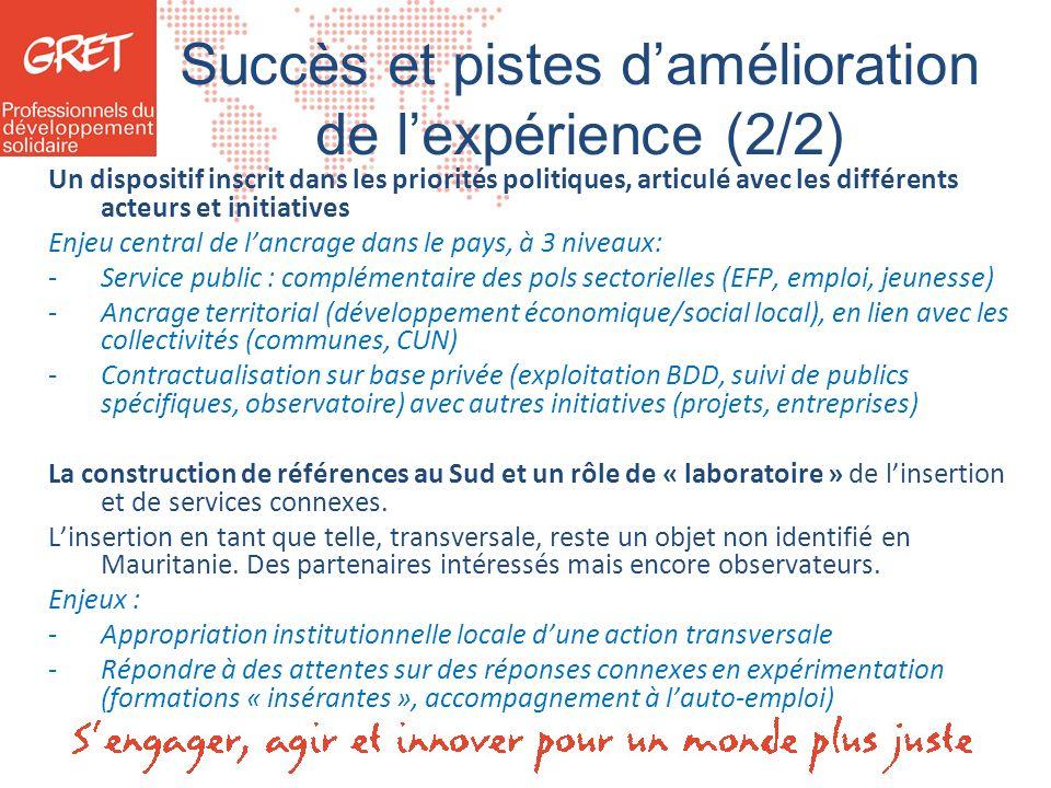 Succès et pistes damélioration de lexpérience (2/2) Un dispositif inscrit dans les priorités politiques, articulé avec les différents acteurs et initi