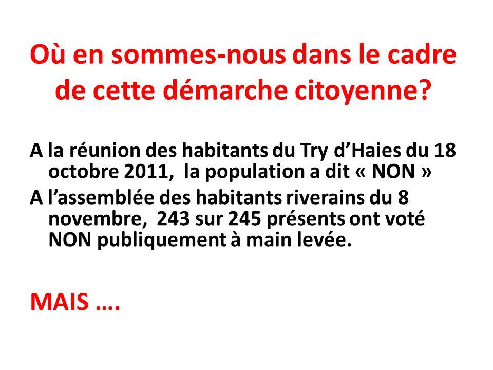 Où en sommes-nous dans le cadre de cette démarche citoyenne? A la réunion des habitants du Try dHaies du 18 octobre 2011, la population a dit « NON »