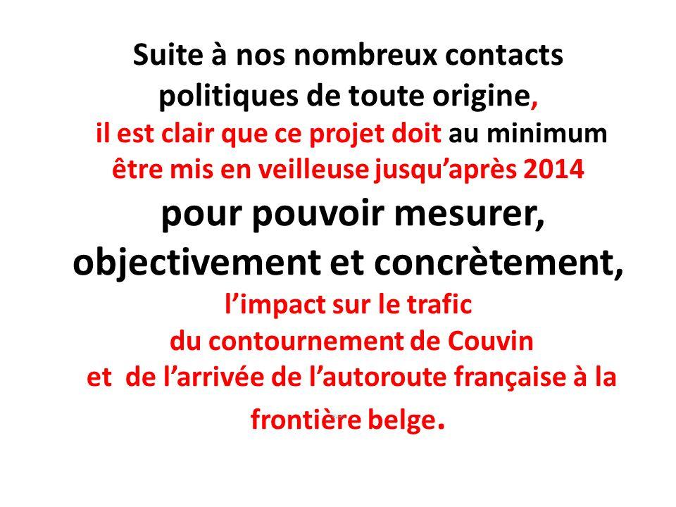 Suite à nos nombreux contacts politiques de toute origine, il est clair que ce projet doit au minimum être mis en veilleuse jusquaprès 2014 pour pouvo