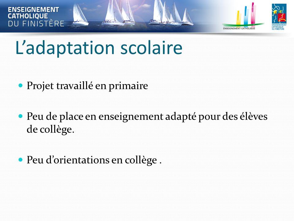 Ladaptation scolaire Projet travaillé en primaire Peu de place en enseignement adapté pour des élèves de collège. Peu dorientations en collège.