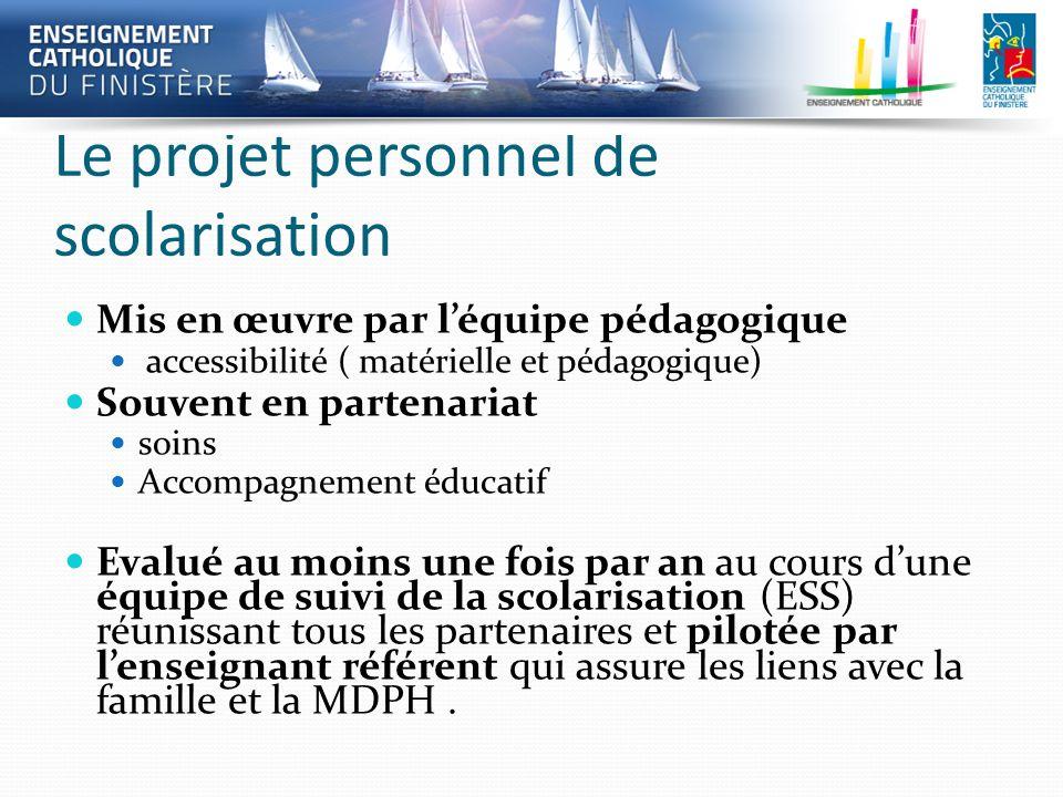 Le projet personnel de scolarisation Mis en œuvre par léquipe pédagogique accessibilité ( matérielle et pédagogique) Souvent en partenariat soins Acco