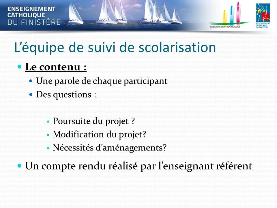 Léquipe de suivi de scolarisation Le contenu : Une parole de chaque participant Des questions : Poursuite du projet ? Modification du projet? Nécessit