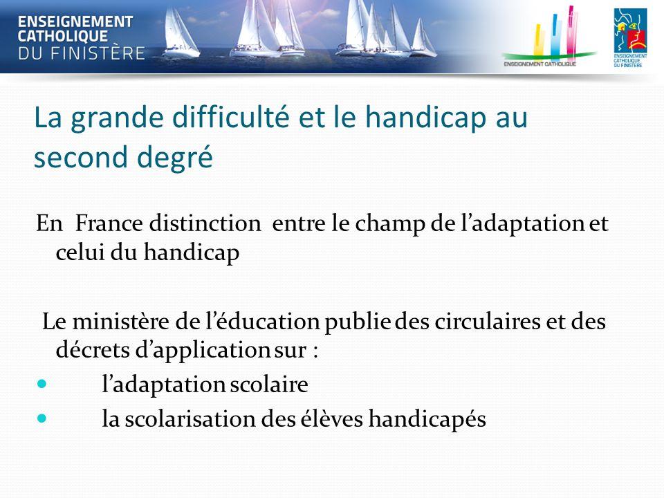 La grande difficulté et le handicap au second degré En France distinction entre le champ de ladaptation et celui du handicap Le ministère de léducatio