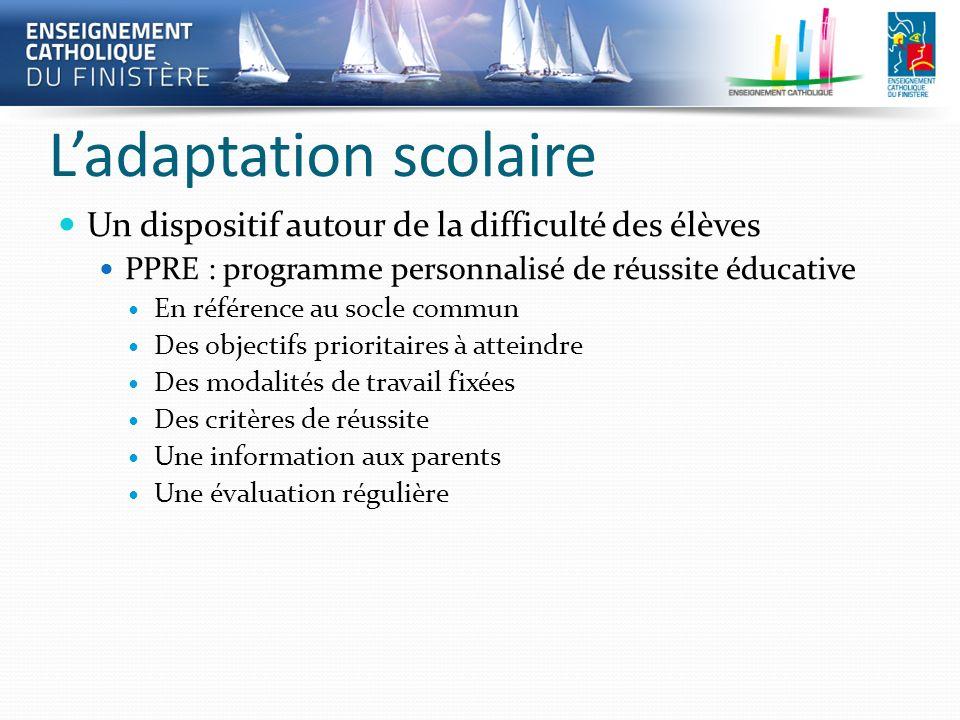 Ladaptation scolaire Un dispositif autour de la difficulté des élèves PPRE : programme personnalisé de réussite éducative En référence au socle commun