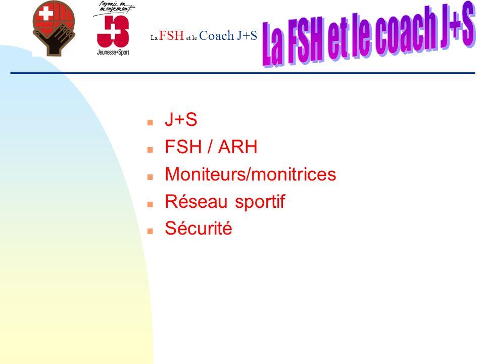 La FSH et le Coach J+S n J+S n FSH / ARH n Moniteurs/monitrices n Réseau sportif n Sécurité