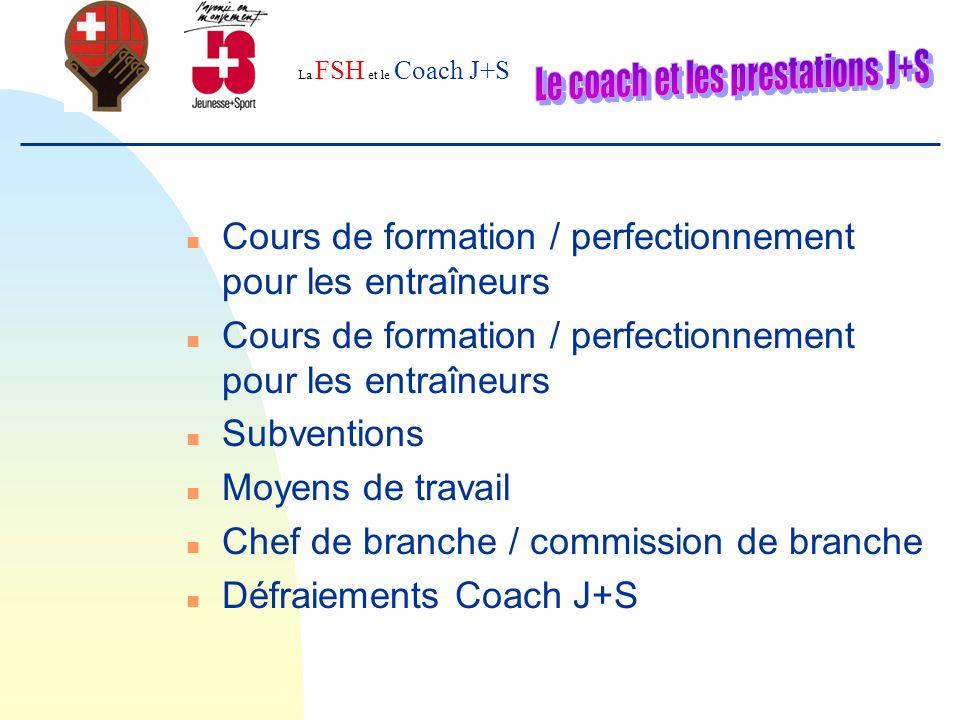 La FSH et le Coach J+S Obligatoires Cours de base (6 Jours) Technique (2 j) Tactique de base (2 j) Condition physique(2 j) Coaching (2 j) A choix Perfectionnement (1-2 j) M9-M11 « Apprendre à jouer » (2 j) «Handball pour la vie » (2 j) Planification d une saison (2x 1 j) Diriger (1 j) Le gardien (1 j) Interdisciplin.