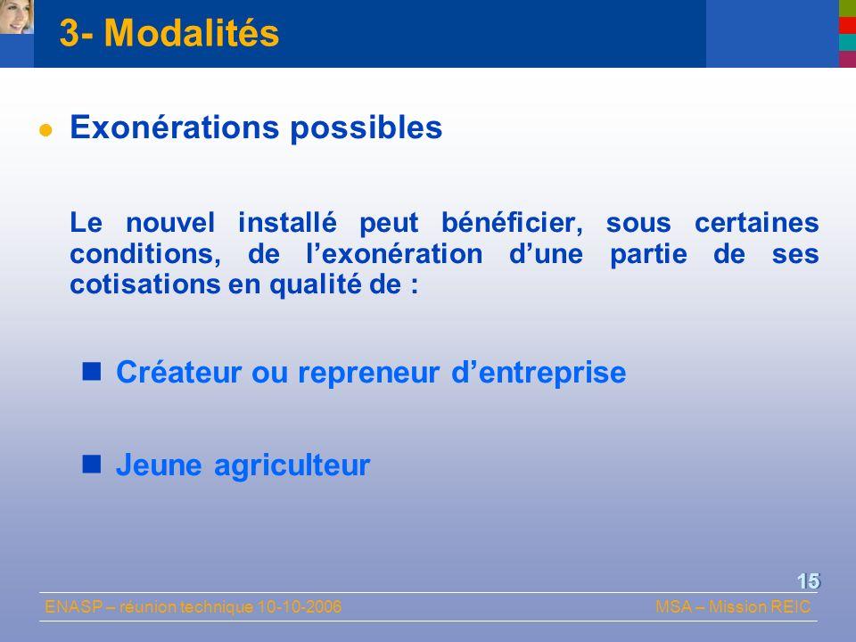 ENASP – réunion technique 10-10-2006MSA – Mission REIC 15 3- Modalités Exonérations possibles Le nouvel installé peut bénéficier, sous certaines condi