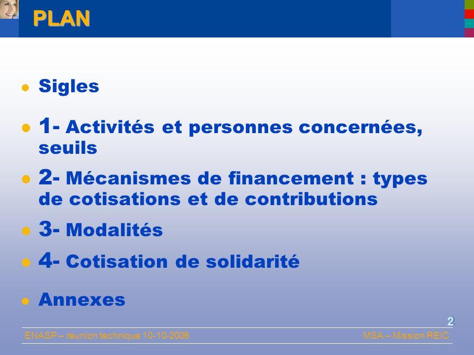 ENASP – réunion technique 10-10-2006MSA – Mission REIC 2PLAN Sigles 1- Activités et personnes concernées, seuils 2- Mécanismes de financement : types