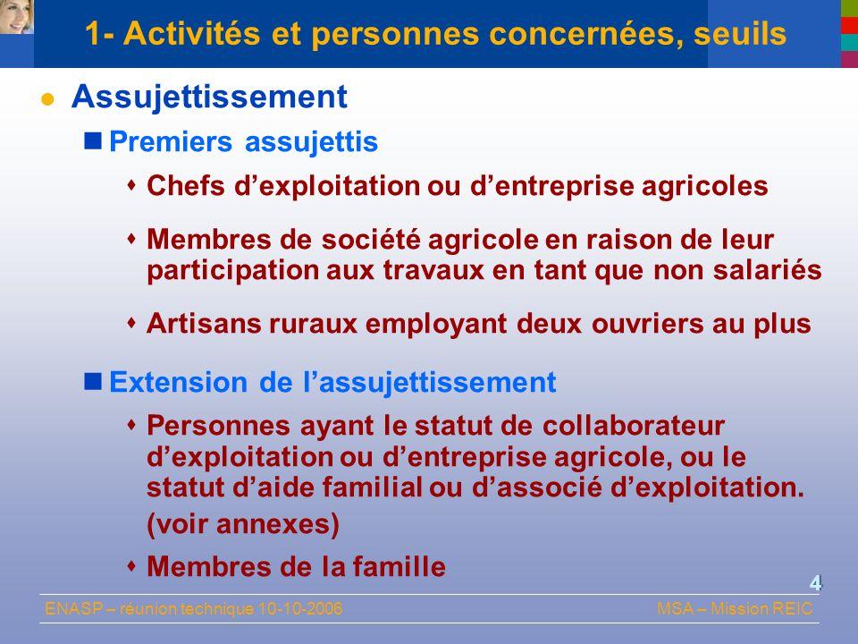 ENASP – réunion technique 10-10-2006MSA – Mission REIC 4 1- Activités et personnes concernées, seuils Assujettissement Premiers assujettis Chefs dexpl