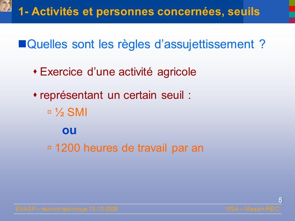 ENASP – réunion technique 10-10-2006MSA – Mission REIC 5 Quelles sont les règles dassujettissement ? Exercice dune activité agricole représentant un c