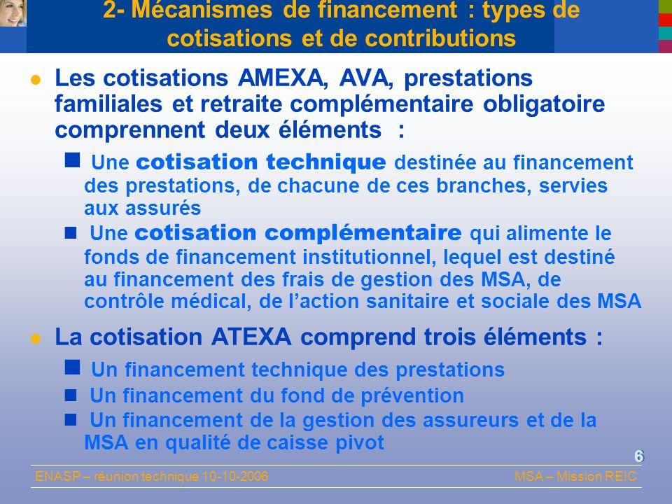 ENASP – réunion technique 10-10-2006MSA – Mission REIC 6 2- Mécanismes de financement : types de cotisations et de contributions Les cotisations AMEXA