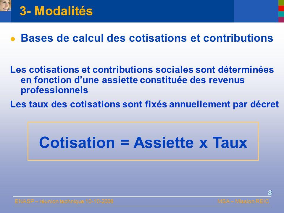 ENASP – réunion technique 10-10-2006MSA – Mission REIC 8 Bases de calcul des cotisations et contributions Les cotisations et contributions sociales so