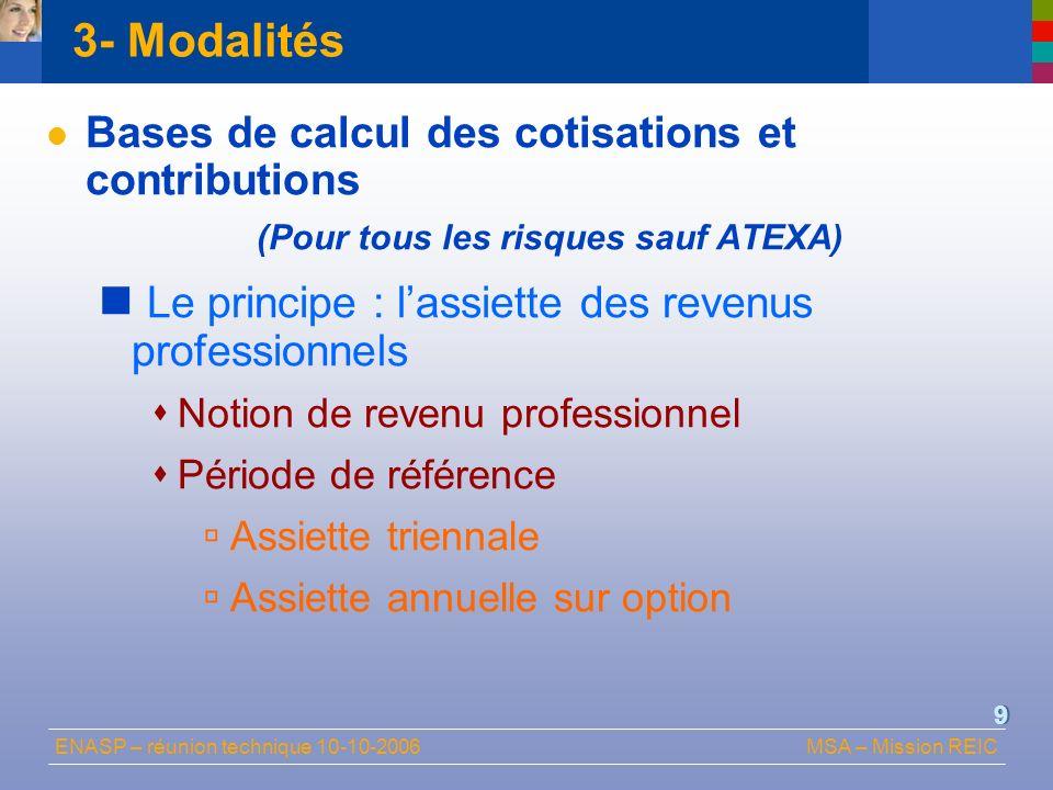 ENASP – réunion technique 10-10-2006MSA – Mission REIC 9 3- Modalités Bases de calcul des cotisations et contributions (Pour tous les risques sauf ATE