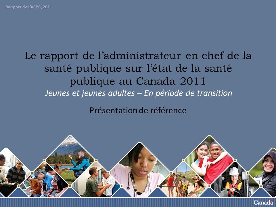 Rapport de lASCP, 2011 62 Santé physique En 2005-2006, plus de 35 000 jeunes et jeunes adultes canadiens (à l exception du Québec) ont été hospitalisés pour des blessures.