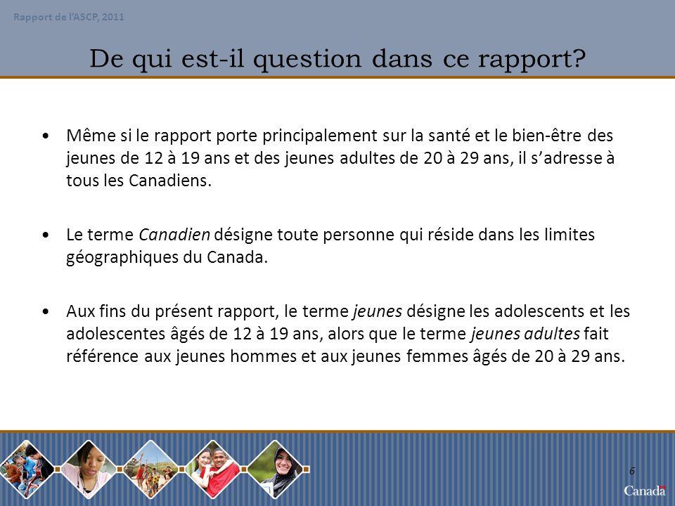 Rapport de lASCP, 2011 27 Démographie sociale de la population des jeunes et des jeunes adultes En 2008, plus de 67 % des Canadiens âgés de 15 à 29 ans occupaient un emploi et constituaient, de ce fait, 26 % des travailleurs au Canada.