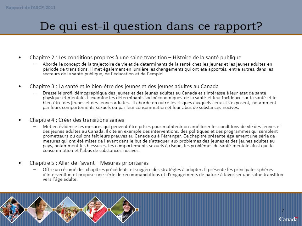 Rapport de LASPC, 2011 Chapitre 2 Les conditions propices à une saine transition – Histoire de la santé publique