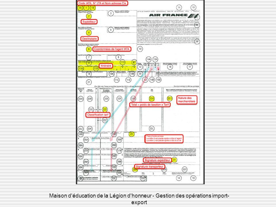 Maison d éducation de la Légion d honneur - Gestion des opérations import- export