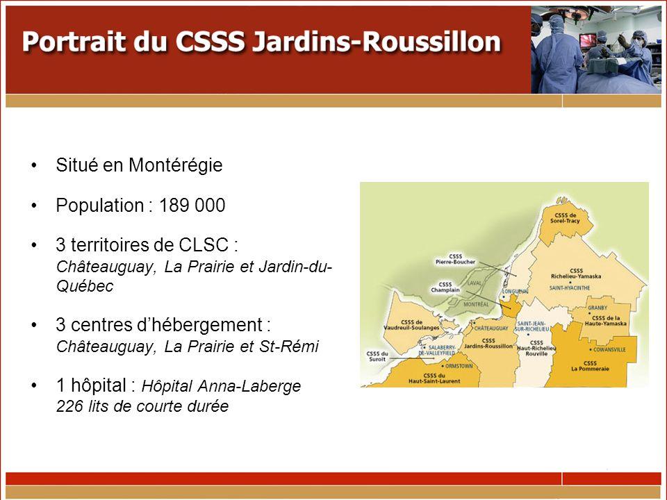 Situé en Montérégie Population : 189 000 3 territoires de CLSC : Châteauguay, La Prairie et Jardin-du- Québec 3 centres dhébergement : Châteauguay, La Prairie et St-Rémi 1 hôpital : Hôpital Anna-Laberge 226 lits de courte durée